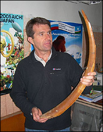 David Shukman with a mammoth tusk in Yakutsk, eastern Russia  Image: BBC
