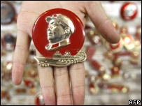 A shop in Beijing sells Mao badges