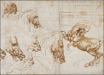 Horses in action, with studies of expression in horses, lion and man, and an architectural ground plan (c.1505).