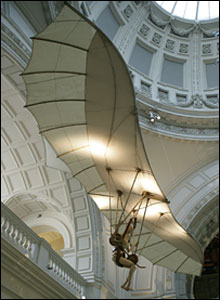 Flying machine in the V&A that was built by SkySport Engineering in 2002 based on drawings by da Vinci.
