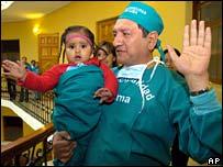 Milagros Cerron with surgeon Luis Rubio