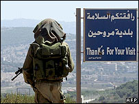 Israeli soldier on the outskirts of the Lebanese village of Marwahin