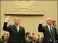 BP's Robert Malone (left) and Steve Marshall (right) being sworn in