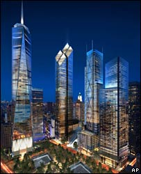 Artist's impression of the three remaining towers propsed for the WTC site