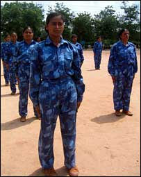 The policewomen to be deployed in Liberia undergoing training in Indian capital, Delhi