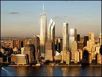 Dibujo de los planes para nuevos rascacielos en el sur de Manhattan.