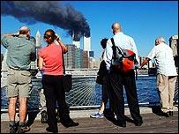 People in Brooklyn watching the twin towers burning