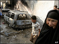 Iraqi woman at the scene of a bombing in Baghdad