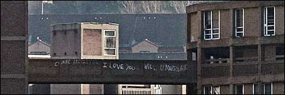 Tower block with 'I love you' graffiti