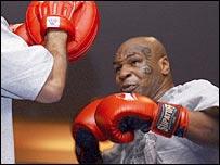 Mike Tyson spars in Las Vegas