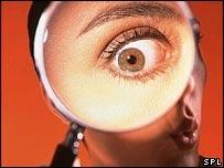 An eye seen through a magnifying glass