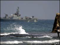 Israeli naval vessel along the Israel/Lebanon border