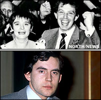 Tony Blair (with wife Cherie) and Gordon Brown in the year they entered parliament