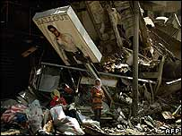 A destroyed shop in Beirut