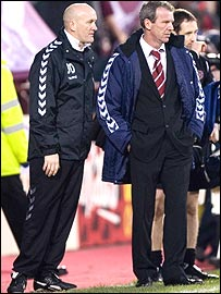 Jim Duffy with former Hearts head coach Graham Rix