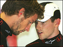 Jenson Button and test driver Anthony Davidson discuss Honda's engine failures
