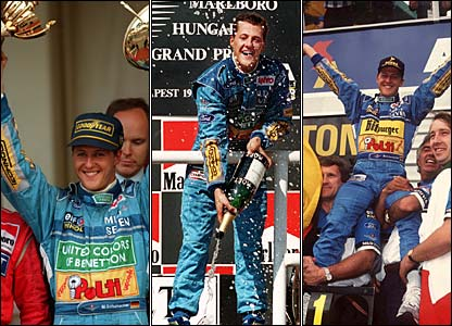 (Left to right) Michael Schumacher celebrates winning in Monaco, winning in Hungary, and celebrates winning the World championship