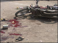Bloodstains near blast site in Malegaon