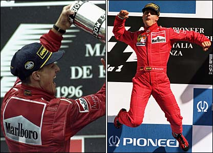 Michael Schumacher celebrates winning in Spain and leaps for joy after winning in Italy