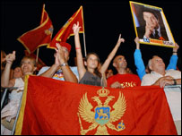 Supporters of Prime Minister Milo Djukanovic at his final election rally