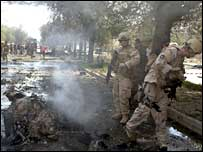 US troops at the scene of the blast