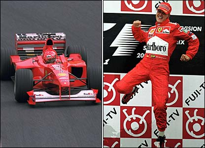 Michael Schumacher wins in Suzuka and jumps for joy at winning Ferrari's first title since 1979