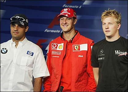 Juan Pablo Montoya, Michael Schumacher and Kimi Raikkonen