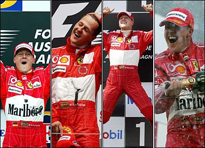 Michael Schumacher celebrates winning in Australia, France, Canada and Japan