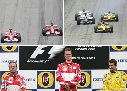 Only six cars competed in the US Grand Prix which Michael Schumacher won