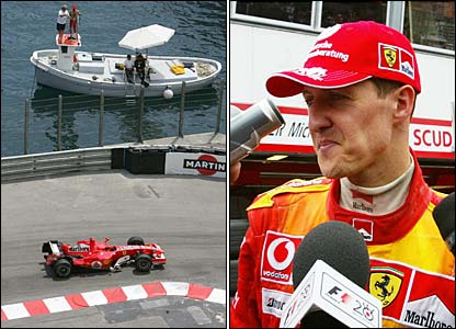 Michael Schumacher in qualifying in Monaco and talking to the media
