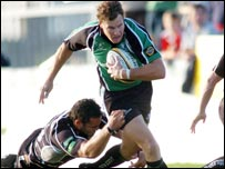 Connacht's Matt Mostyn is tackled by Sonny Parker