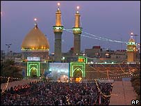 The  Imam Abbas shrine lights up the night sky in Karbala, Iraq