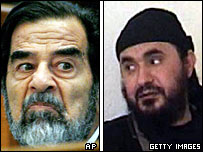 Composite image of Saddam Hussein at his trial in Aug 2006 and an undated US Department of Defense handout photo of Abu Musab al-Zarqawi, who was killed in June