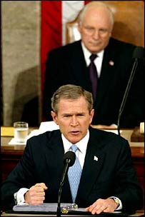 George W Bush and Dick Cheney at the 2002 State of the Union address