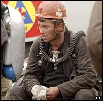 A rescuer at the site of the Darasun mine in Siberia