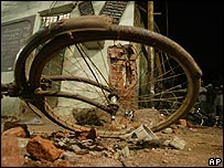 Wrecked bicycle after a bomb in India