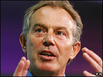Tony Blair making the keynote speech at the conference of the Progress Organisation