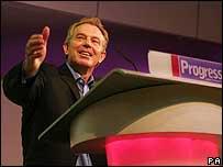 Tony Blair making his keynote speech