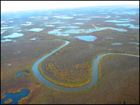 Siberian landscape from the air.  Image: BBC