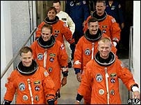 The six Atlantis astronauts on their way out to the launch pad early on Saturday