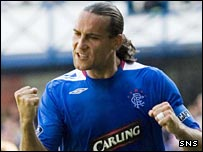 Dado Prso celebrates after scoring Rangers' second goal