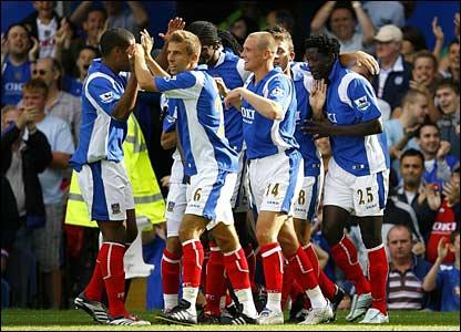 Portsmouth celebrate Benjani Mwaruwari's goal