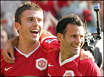 Michael Carrick and Ryan Giggs celebrate