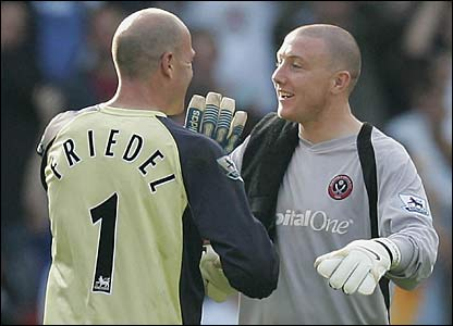 Blackburn's Brad Friedel and Paddy Kenny of Sheffield United