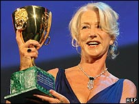 Dame Helen Mirren picking up the best actress award in Venice