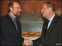 Iran's nuclear negotiator Ali Larijani meets EU foreign policy chief Javier Solana in the Austrian Federal Chancellery  in Vienna on Saturday