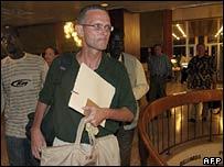 Paul Salopek in a Khartoum hotel