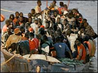 African immigrants arriving in Tenerife