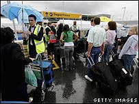 Customers queuing at Heathrow airport during last month's alert