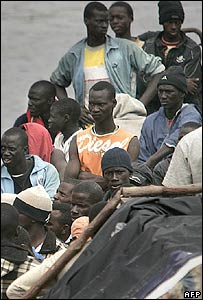 Africans arrive on a boat into the port of Los Cristianos on the Spanish Canary island of Tenerife. File photo
